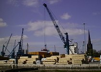 Unloading timber at stanhope dock